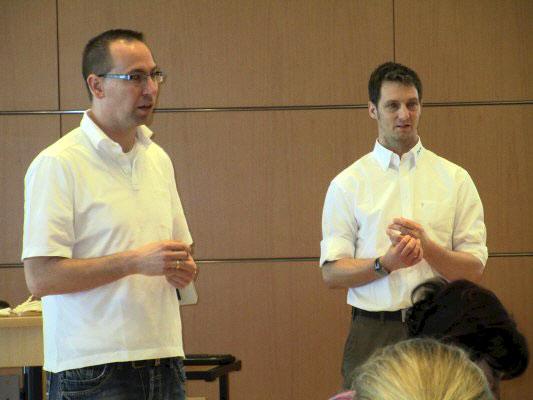 Thomas Sprenkel und Sven Schröder gaben einen Workshop zum Thema Behandlung der Epicondylitis lateralis